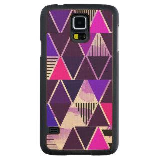 Multi Purple Triangular Carved® Maple Galaxy S5 Slim Case