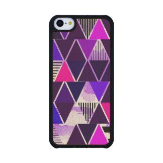 Multi Purple Triangular Carved® Maple iPhone 5C Case