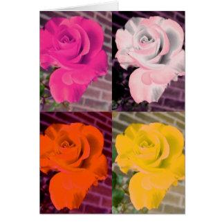 Multi Rainbow Girly Repeated Roses Card