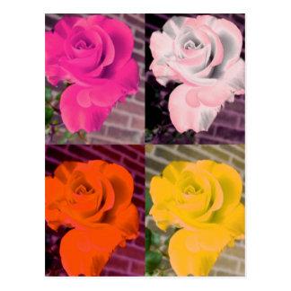 Multi Rainbow Girly Repeated Roses Postcard
