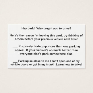 Multi-Rant Complaint Card to leave bad drivers!