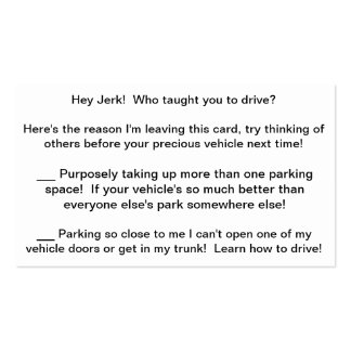 Multi-Rant Complaint Card to leave bad drivers! Double-Sided Standard Business Cards (Pack Of 100)