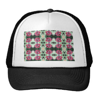 multi red and white flower trucker hats