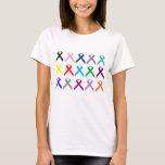 "Multi ribbon find a cure cancer  shirt<br><div class=""desc"">Mutil colored ribbon shirt</div>"