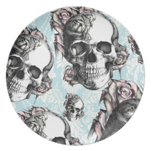 Multi skull and roses.  Don't be Blue. Plate