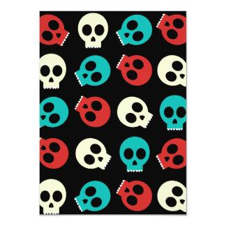 Multi Skulls In Vintage Retro Colors 4.5x6.25 Paper Invitation Card