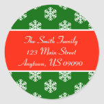 Multi Snowflakes Address Labels (Red / Green) Classic Round Sticker
