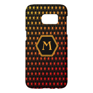 Multi spiders fiery on black Monogram Samsung Galaxy S7 Case