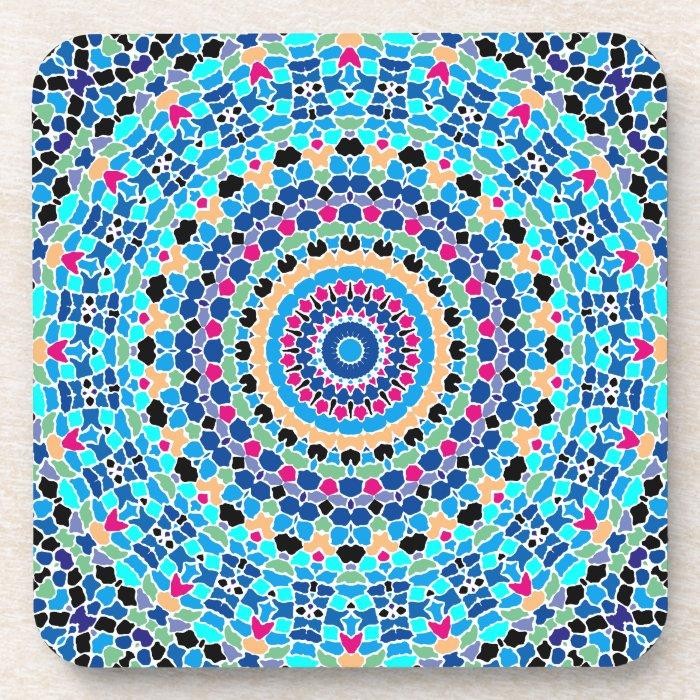 Multi Spots No. 1 Blue Kaleidoscope Coaster