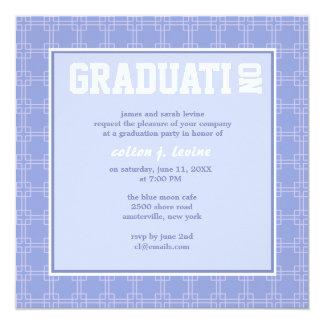 Multi Square Blue Graduation Invitation