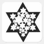 Multi Stars Star of David Square Sticker
