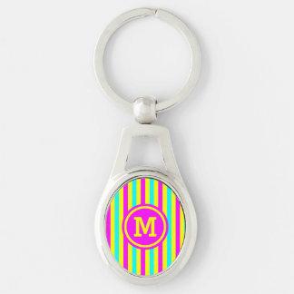 Multi Stripe Yellow Monogram Silver-Colored Oval Metal Keychain
