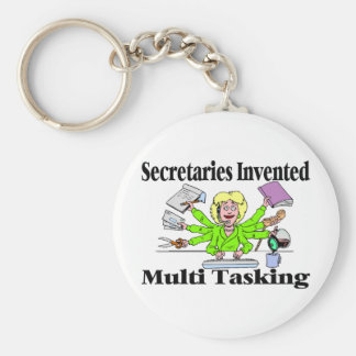 Multi Task Secretary Basic Round Button Keychain
