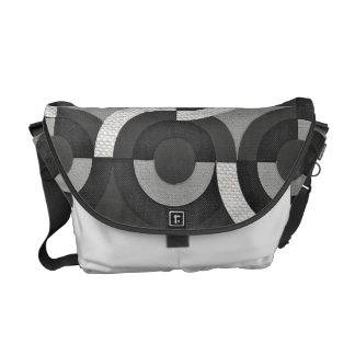 Multi Texture Look Geometric Mod Circles Courier Bag