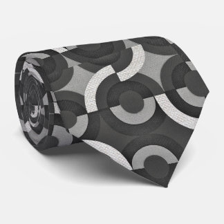 Multi Texture Look Geometric Mod Circles Neck Tie
