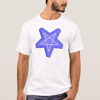 Multi-toned blue and white 3d inverted pentagram T-Shirt