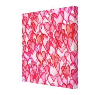 Multi Transparent Hearts in Red & Pink Canvas Print