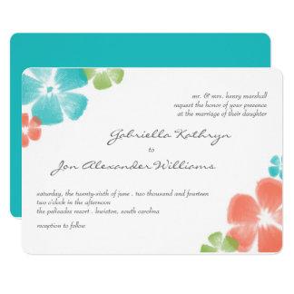 Multi Tropical Watercolor Wedding Invite / Aqua