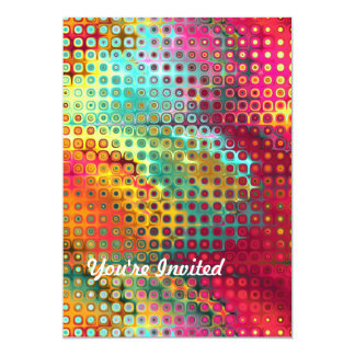 Multi Vibrant Tropical Colored Abstract Squares 5x7 Paper Invitation Card