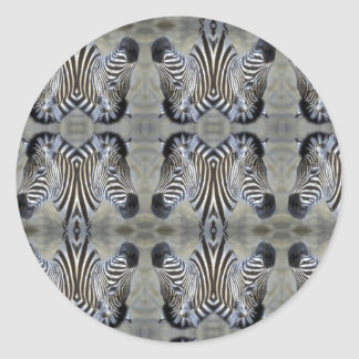 multi zebra head classic round sticker