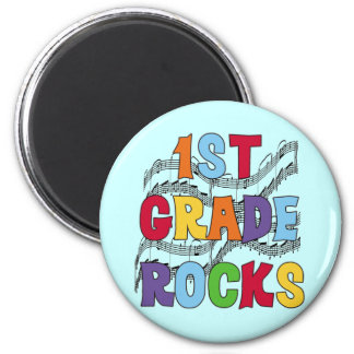 Multicolor 1st Grade Rocks Tshirts and Gifts 2 Inch Round Magnet