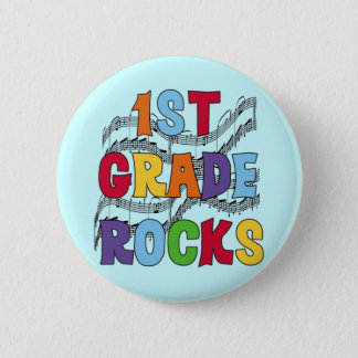 Multicolor 1st Grade Rocks Tshirts and Gifts Button