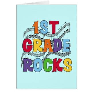 Multicolor 1st Grade Rocks Tshirts and Gifts Card