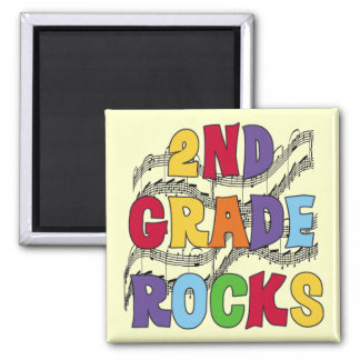 Multicolor 2nd Grade Rocks Tshirts and Gifts 2 Inch Square Magnet