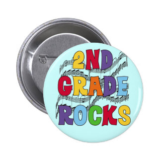 Multicolor 2nd Grade Rocks Tshirts and Gifts Button