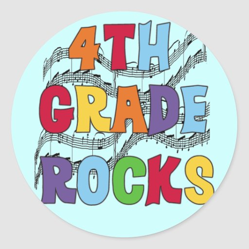Multicolor 4th Grade Rocks Tshirts and Gifts Classic Round Sticker