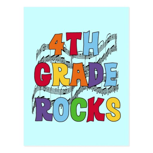 Multicolor 4th Grade Rocks Tshirts and Gifts Post Cards