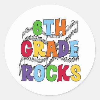 Multicolor 6th Grade Rocks Classic Round Sticker