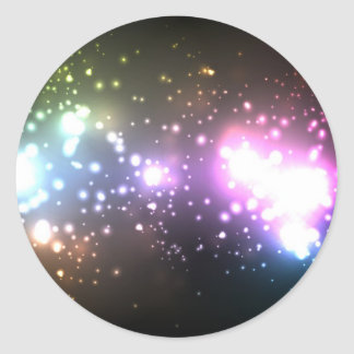 Multicolor Abstract Particles Classic Round Sticker