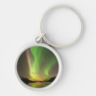 Multicolor Aurora Silver-Colored Round Keychain