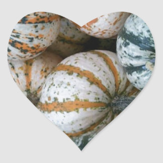 Multicolor Autumn Harvest Pumpkins Heart Sticker