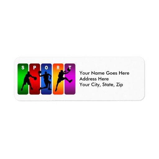 Multicolor Basketball Emblem Label
