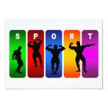 Multicolor Bodybuilding Emblem 5x7 Paper Invitation Card