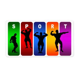 Multicolor Bodybuilding Emblem Label