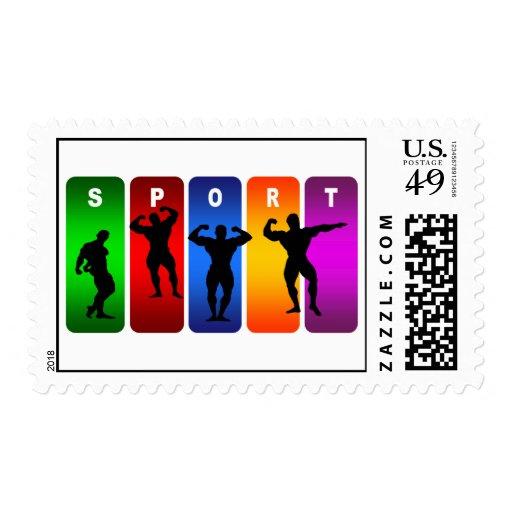 Multicolor Bodybuilding Emblem Stamp