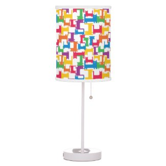Multicolor Bright Vivivd Cats Pattern Lamp