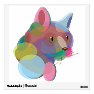 Multicolor Cat Wall Decal