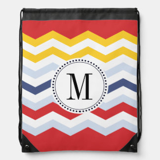 Multicolor Chevron Design Drawstring Backpack