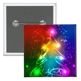 Multicolor Christmas Tree 2 Inch Square Button