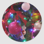 Multicolor Christmas Tree Colorful Holiday Classic Round Sticker