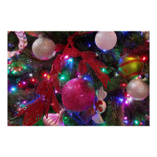 Multicolor Christmas Tree Colorful Holiday Poster