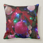 Multicolor Christmas Tree Colorful Holiday Throw Pillow