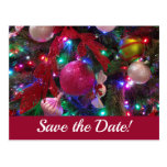 Multicolor Christmas Tree Colorful Save the Date Postcard