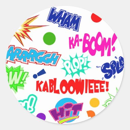 Multicolor Comic Call-outs Classic Round Sticker
