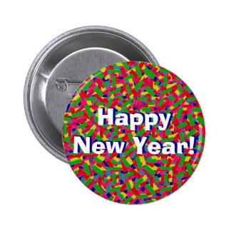 """Multicolor Confetti """"Happy New Year!"""" 2 Inch Round Button"""
