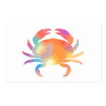 Multicolor Crab Rectangular Sticker